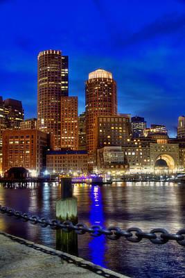 Photograph - Boston Harbor Night Skyline by Joann Vitali