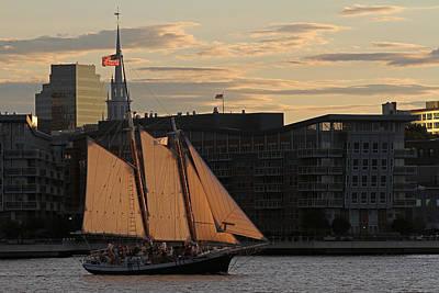 Boston Harbor Sailing On The Schooner Liberty Star Art Print by Juergen Roth