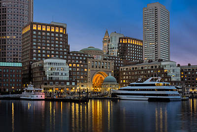 Photograph - Boston Harbor Skyline by Susan Candelario