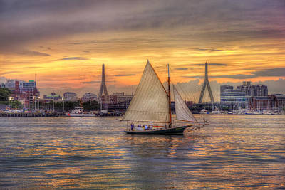Boston Harbor Sunset Sail Art Print