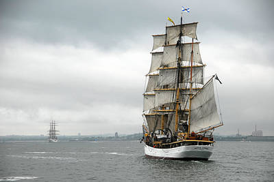 Coast Guard Photograph - Boston Harbor Tall Ships by Peter Chilelli