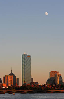 Fun Patterns - Boston John Hancock Tower with Moon by Juergen Roth