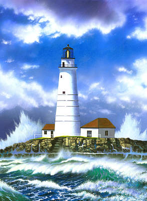 Boston Light Art Print by MGL Studio - Chris Hiett