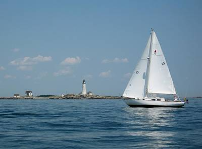 Sailboat Ocean Photograph - Boston Light Two by Laura Lee Zanghetti