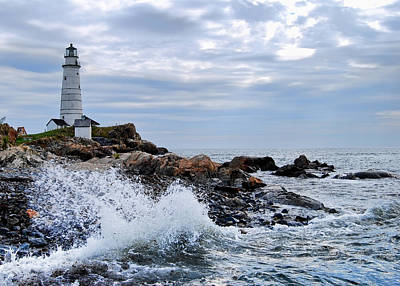 Photograph - Boston Light Wave Crashing by Peggie Strachan