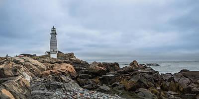 Boston Lighthouse On The Rocks Art Print