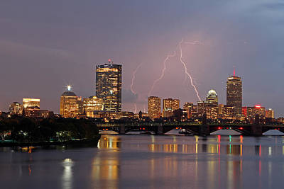 Charles River Photograph - Boston Lightning Thunderstorm by Juergen Roth