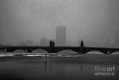 Boston Longfellow Bridge-snow Cityscape Sketch Art Print by Douglas Barnard