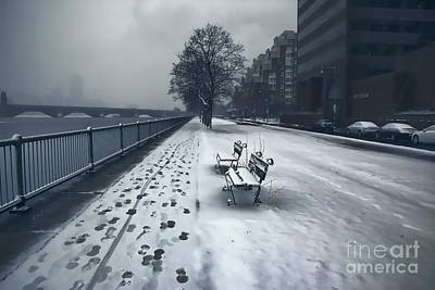 Boston Longfellow Bridge-snow Cityscape V2 Art Print by Douglas Barnard