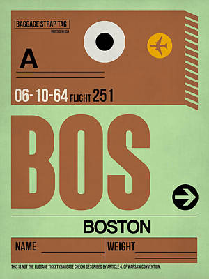 Boston Mixed Media - Boston Luggage Poster 1 by Naxart Studio
