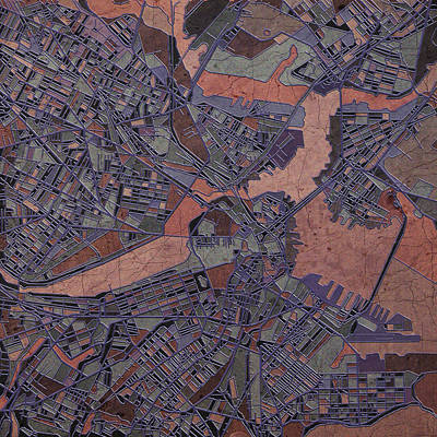 Boston Map Antique Art Print by Bekim Art