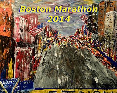 Mark Moore Painting - Boston Marathon 2014 by Mark Moore