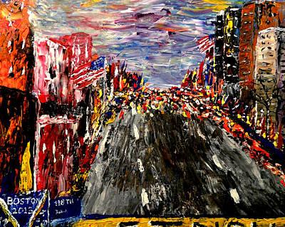 Sports Paintings - Boston Marathon  by Mark Moore
