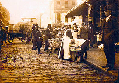 Wine Barrel Digital Art - Boston Market Street Scene 1909 by Unknown
