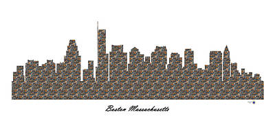 Boston Massachusetts 3d Stone Wall Skyline Art Print
