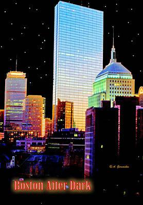 Hancock Building Digital Art - Boston Massachusetts After Dark by A Gurmankin