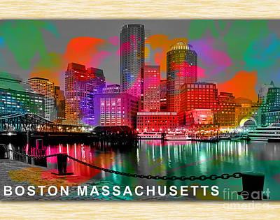 Development Mixed Media - Boston Massachusetts Skyline  by Marvin Blaine