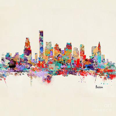 Painting - boston Massachusetts skyline square   by Bri B