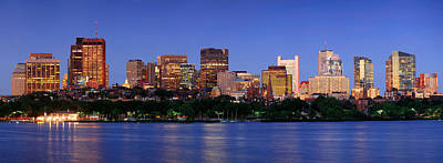 Photograph - Boston Night Scene Panorama by Songquan Deng