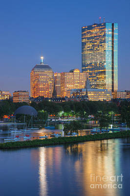 Photograph - Boston Night Skyline I by Clarence Holmes