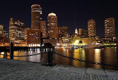 Boston Night Skyline Photograph - Boston Odyssey  by Juergen Roth