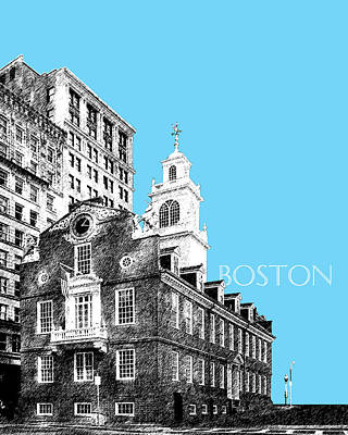 Massachusetts Digital Art - Boston Old State House - Sky Blue by DB Artist