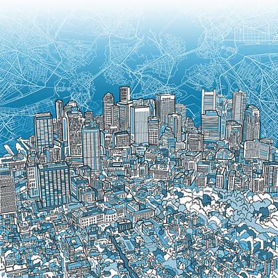 Boston Skyline Painting - Boston Panorama Abstract 2 by Bekim Art