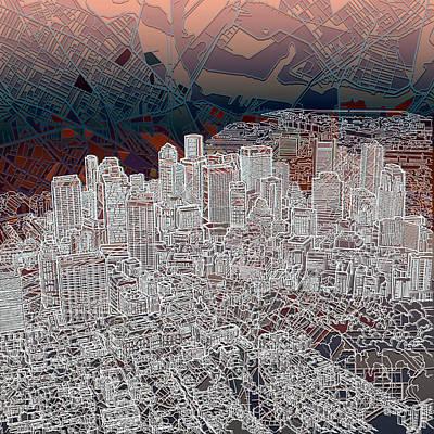 Boston Skyline Painting - Boston Panorama Abstract 3 by Bekim Art