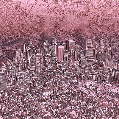 Boston Skyline Painting - Boston Panorama Abstract by Bekim Art