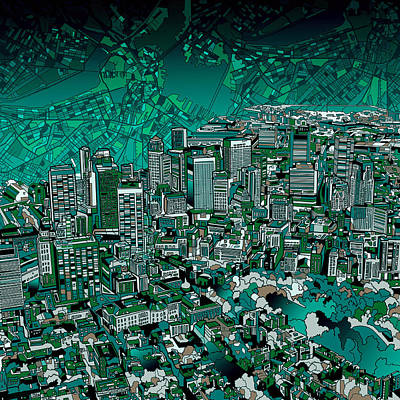 Painting - Boston Panorama Green by Bekim Art