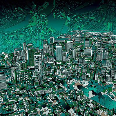 Boston Skyline Painting - Boston Panorama Green by Bekim Art