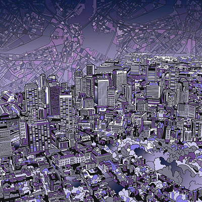Abstract Digital Painting - Boston Panorama Purple by Bekim Art