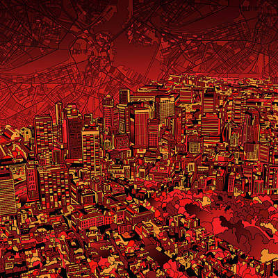 Painting - Boston Panorama Red by Bekim Art