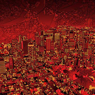 Boston Skyline Painting - Boston Panorama Red by Bekim Art