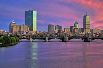 Boston Night Skyline Photograph - Boston Pastel Sunset by Joann Vitali