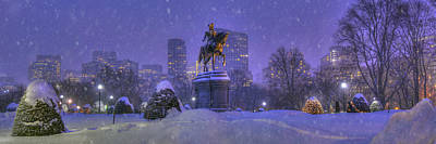 Boston Public Garden In Snow With Boston Skyline Art Print