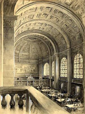 Boston Public Library Bates Hall 1896 Art Print by Padre Art