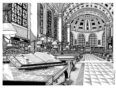 Boston Public Library Bates Hall Art Print by Conor Plunkett