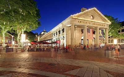 Travel Pics Royalty-Free and Rights-Managed Images - Boston Quincy Market near Faneuil Hall by Juergen Roth