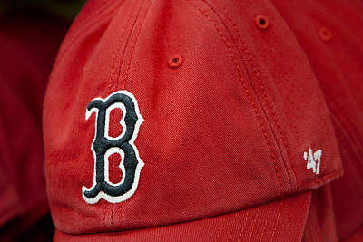 Boston Red Sox Baseball Cap Art Print by Susan Candelario