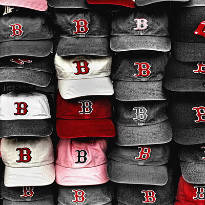 Boston Red Sox Caps Print by Joann Vitali
