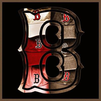 Baseball Photograph - Boston Red Sox Logo - Sepia by Joann Vitali