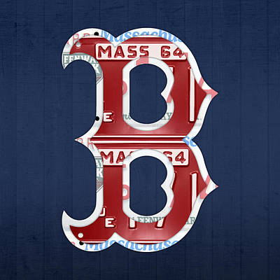 Green Mixed Media - Boston Red Sox Logo Letter B Baseball Team Vintage License Plate Art by Design Turnpike