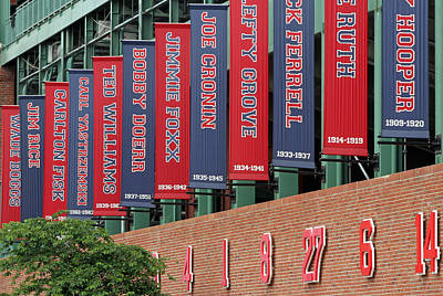 Athletes Royalty-Free and Rights-Managed Images - Boston Red Sox Retired Numbers Along Fenway Park by Juergen Roth