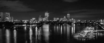 Boston Panoramic Photograph - Boston Skyline - Black And White by Joann Vitali
