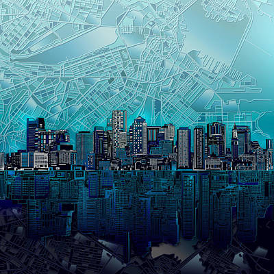 Abstract Digital Painting - Boston Skyline Abstract Blue by Bekim Art