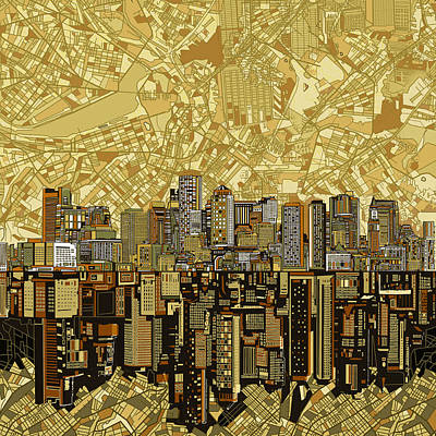 Boston Skyline Abstract Brown Art Print