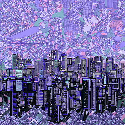 Boston Skyline Abstract Art Print