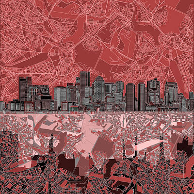 Boston Skyline Abstract Red Art Print