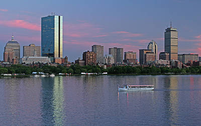 Boston Skyline And Sightseeing Boat Art Print
